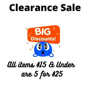 5 for $25 All items $15 and under